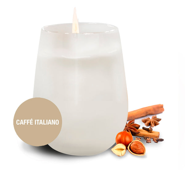 Saluté Caffé Italiano Candle- in Frosted Stemless Wine Glass