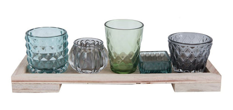 "13-1/4""L x 4-1/4""W x 4-1/4""H Wood Tray w/ 5 Glass Votive/Tealight Holders, Set of 6 - Bower on Market"