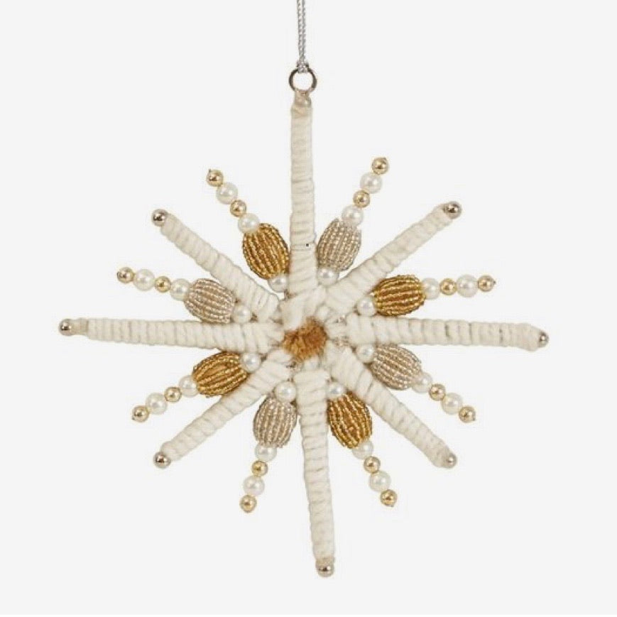 Glass Bead and Yarn Snowflake Ornament, 7""