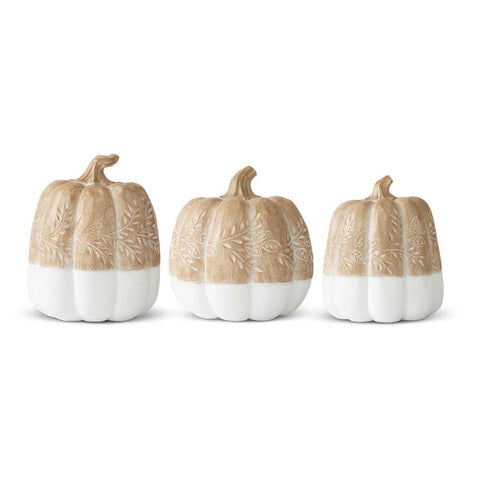 Tan and White Carved Resin Pumpkins with Leaf Dedign