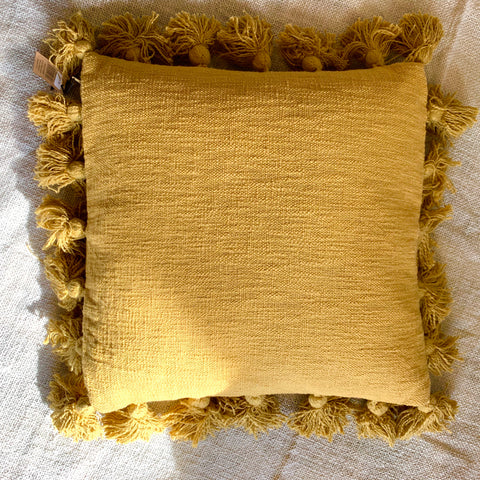 "18"" Square Cotton Pillow with Tassels - Bower on Market"