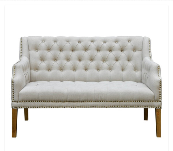 Tufted Linen Settee