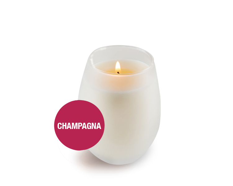 Saluté Champagna Bambina Candle- in Frosted Stemless Wine Tasting Glass