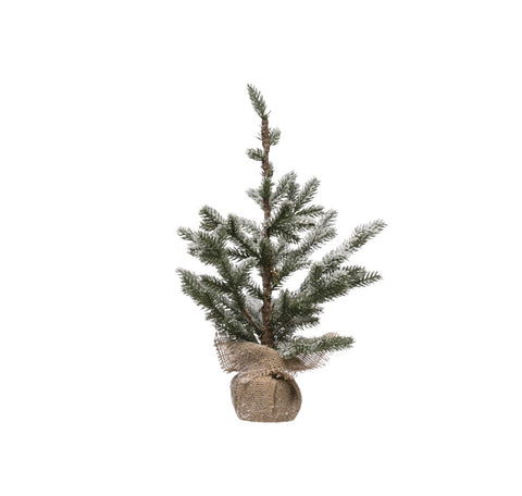 "Small Icy Pine Christmas Tree with Burlap Wrapped Base- Faux,  19 1/2""H"