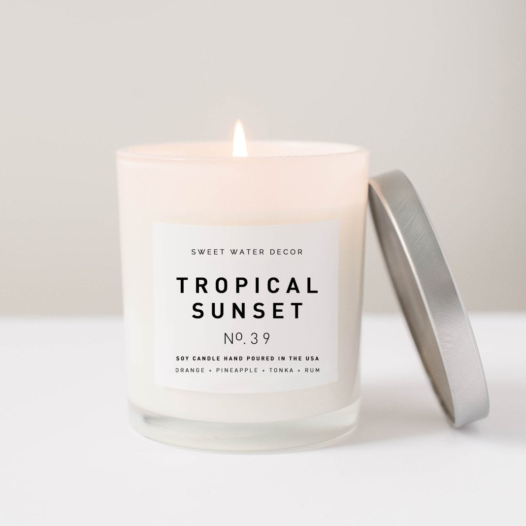 Tropical Sunset- White Jar Candle with Silver Lid