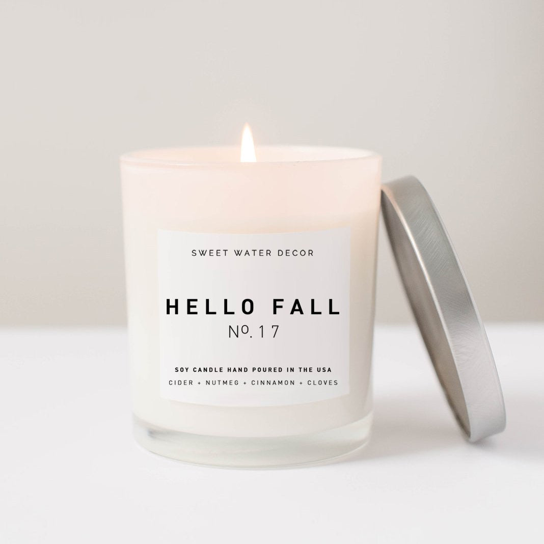 Hello Fall- White Jar Candle with Silver Lid