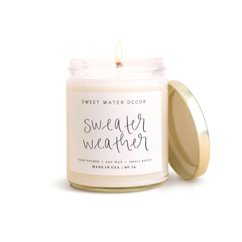 Sweater Weather- Jar Candle with Gold Lid, 7.5oz. Soy