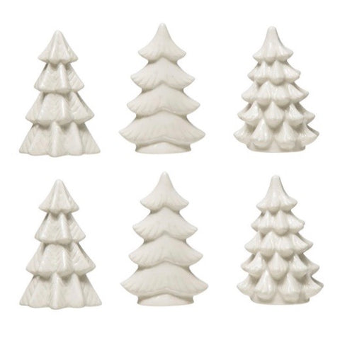 White Stoneware Mini Christmas Trees, Set of 6
