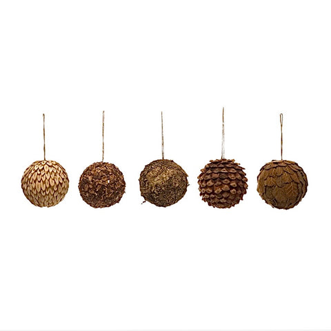 "4"" Round Dried Natural Greenery Ball Ornament, 5 Styles"