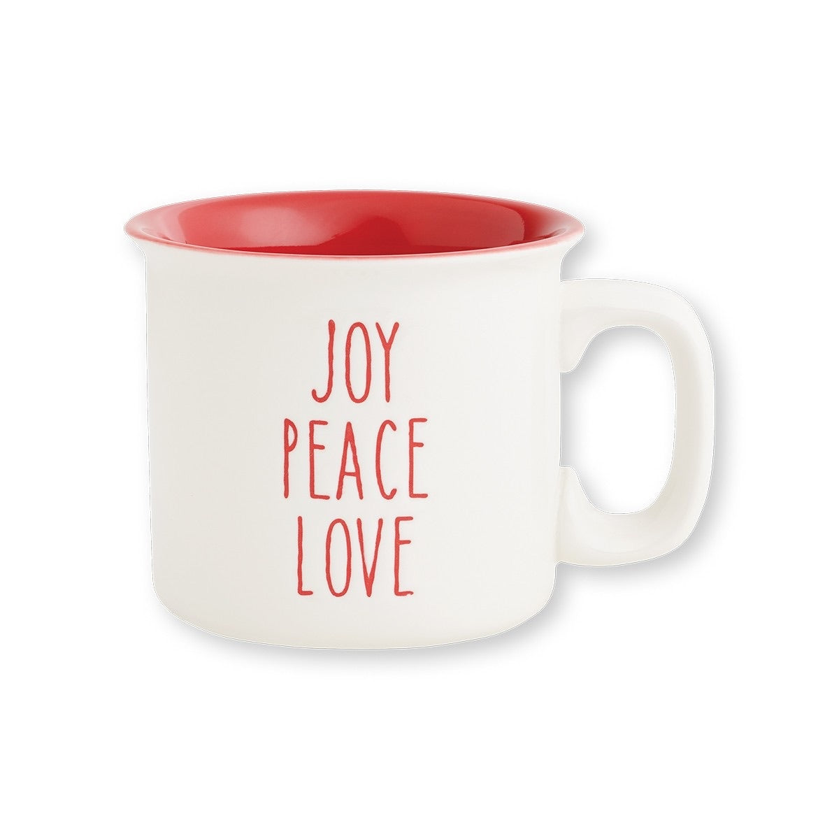Joy Peace Love Engraved Christmas Camp Mug, 15oz. White and Red