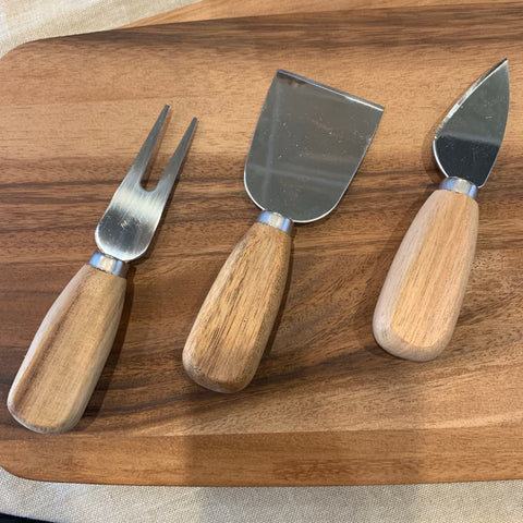 "5""L - 5-1/2""L Stainless Steel & Acacia Wood Cheese Utensils, Set of 3 - Bower on Market"