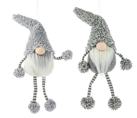 "Gray & White Plush  Whimsical Gnomes 11""H"