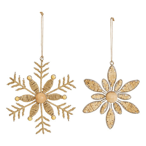 Boho Style Snowflake Jute and Wood Beaded Christmas Ornament, 2 Styles
