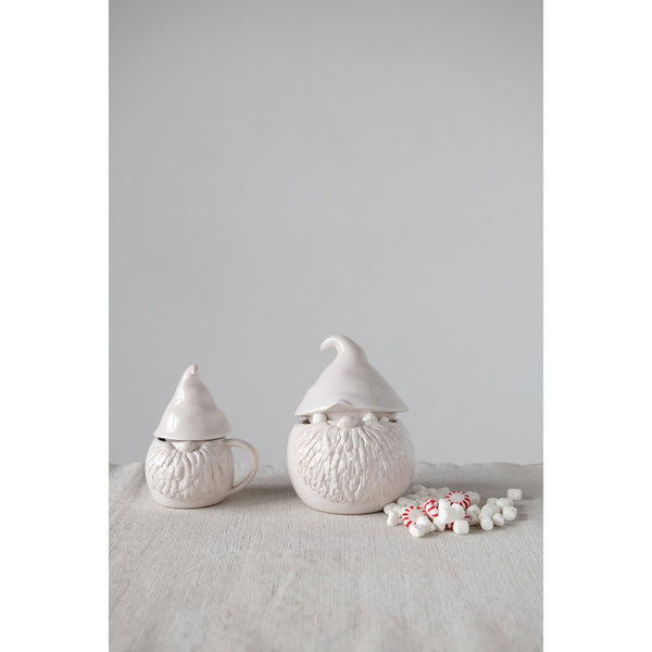 Stoneware Gnome Covered Jar Canister