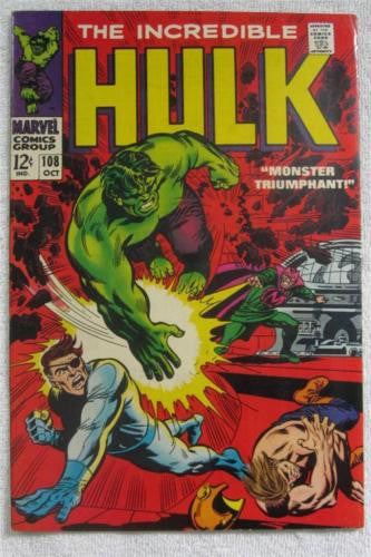 The Incredible Hulk #108 (Oct 1968, Marvel) 1st app Missing Link VF/NM 9.0
