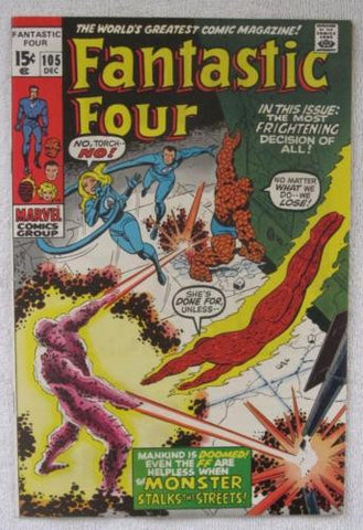 Fantastic Four #105 (Dec 1970, Marvel) Romita pencils High Grade VF/NM 9.0