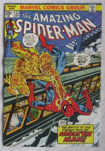 The Amazing Spider-Man #133 (Jun 1974, Marvel) Molten Man High Grade VF+ 8.5