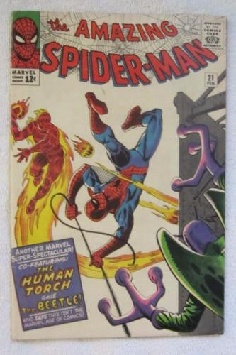 The Amazing Spider-Man #21 (Feb 1965, Marvel) Ditko art 2nd Beetle app VG/F 5.0