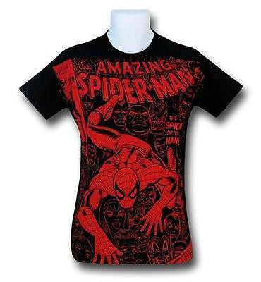 Spiderman #100 Cover Black Marvel Licensed Men's T-Shirt M-L