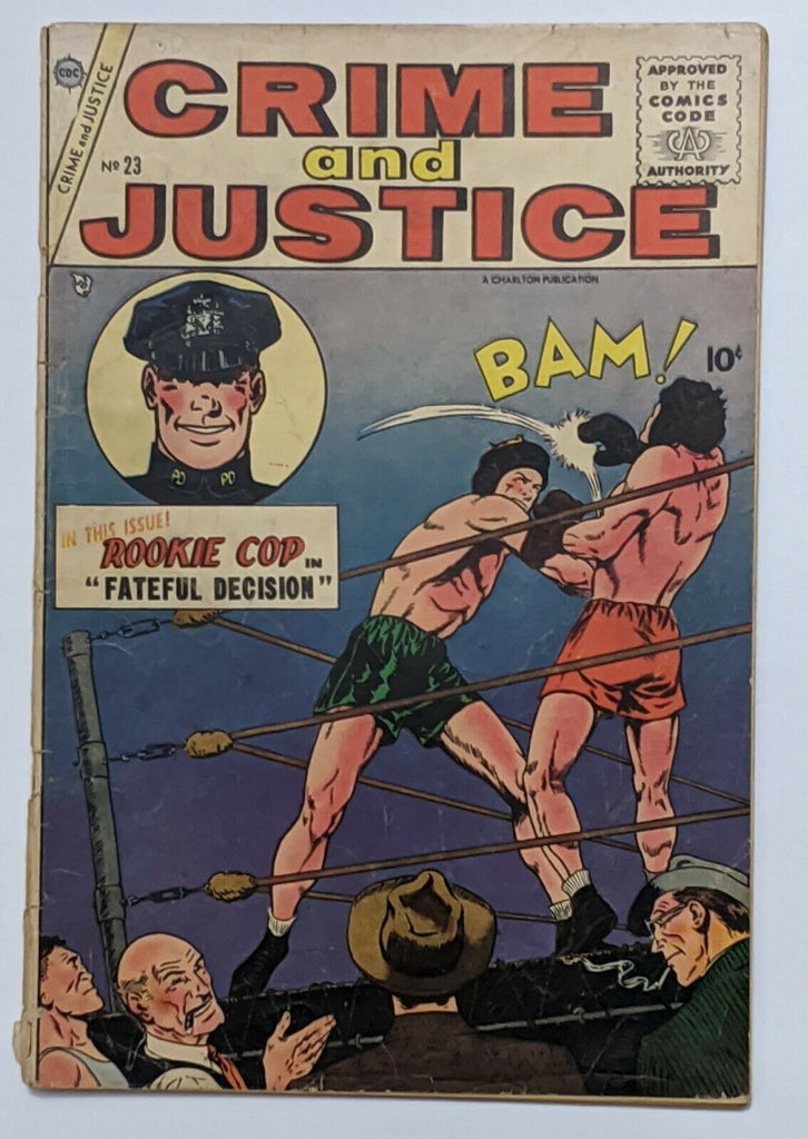 Crime And Justice #23 (Mar 1955, Charlton) Good- 1.8 1st app Rookie Cop Gerber 8