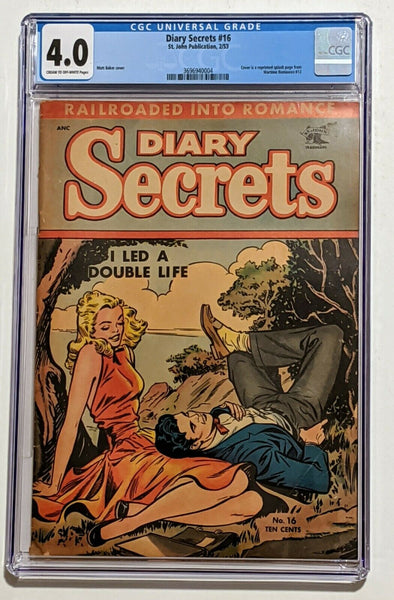 Diary Secrets #16 (Feb 1953, St. John) CGC 4.0 Matt Baker cover