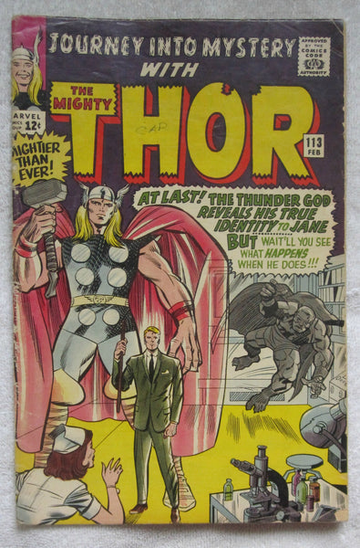 Journey into Mystery #113 (Feb 1965, Marvel) Origin of Loki Good 2.0