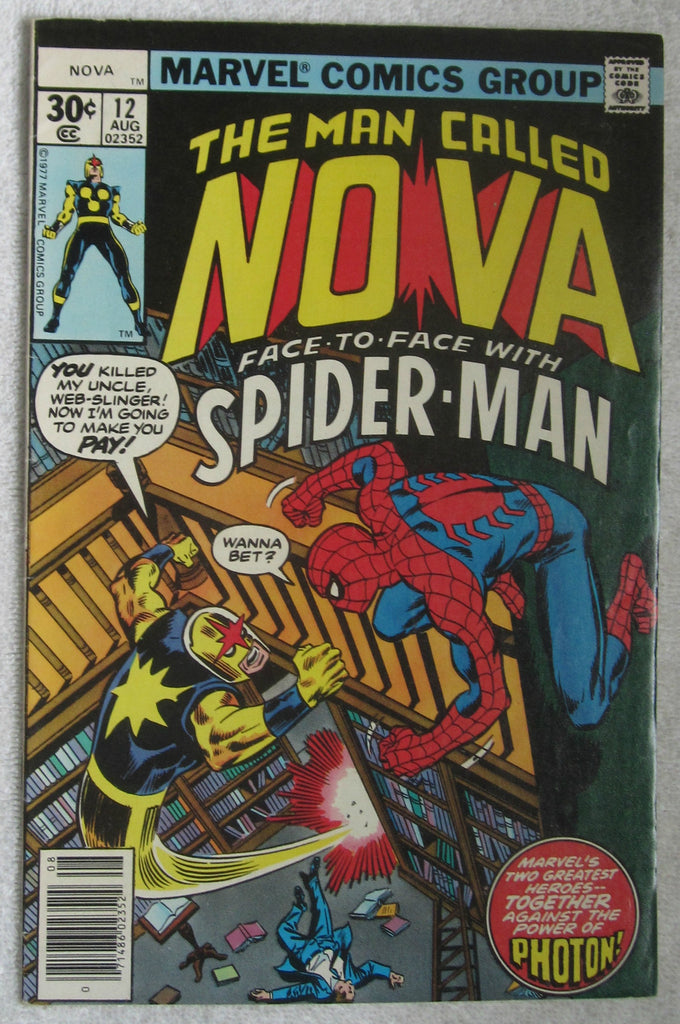 Nova #12 (Aug 1977, Marvel) Spider-Man app FN+ 6.5