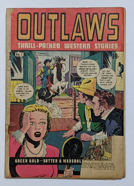 Outlaws #9 (Jul 1949, DS Publishing) Good- 1.8 Frank Frazetta art Scarce