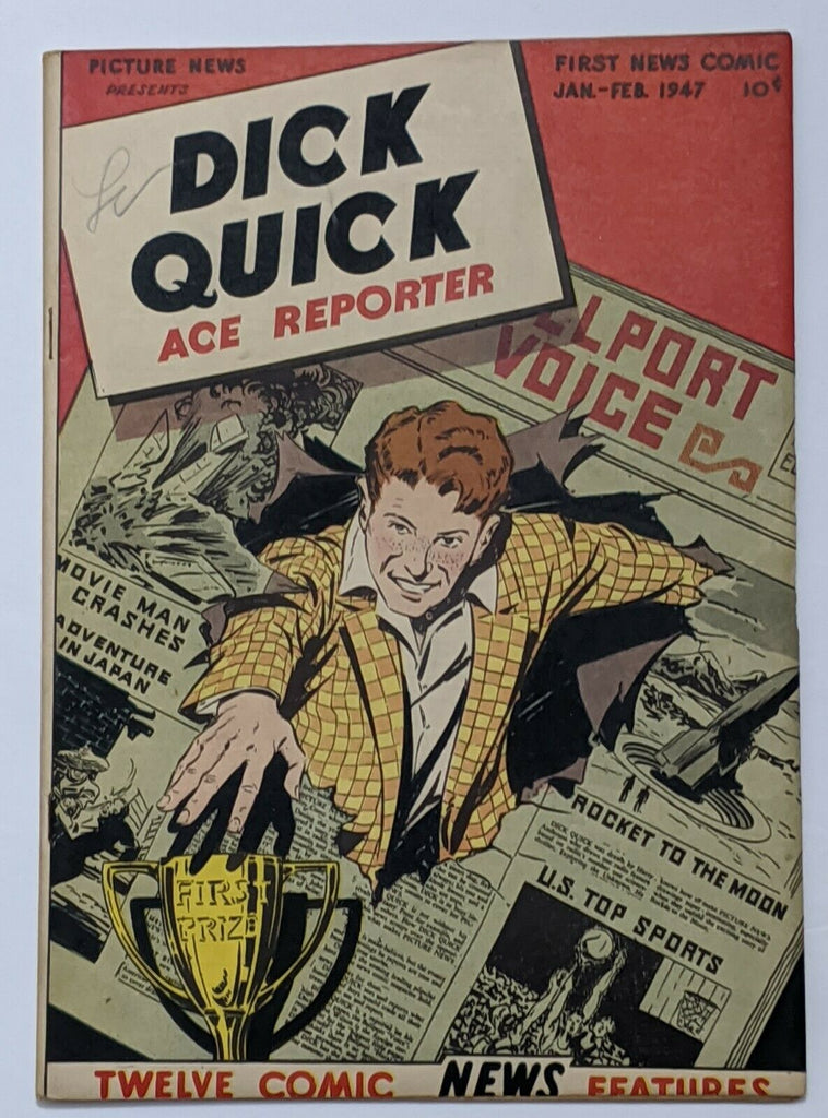 Picture News #10 Dick Quick (Feb 1947) FN- 5.5 Bernie Krigstein art A-Bomb Story
