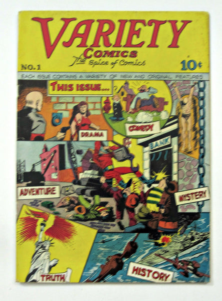 Variety Comics #1 (1944) Captain Valiant origin Bondage cover FN+ 6.5