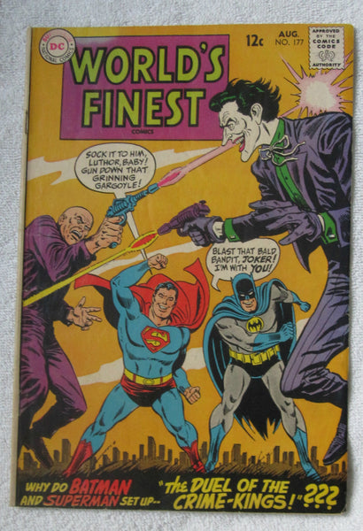 World's Finest Comics #177 (Aug 1968, DC) Joker/Lex Luthor cvr G/VG 3.0