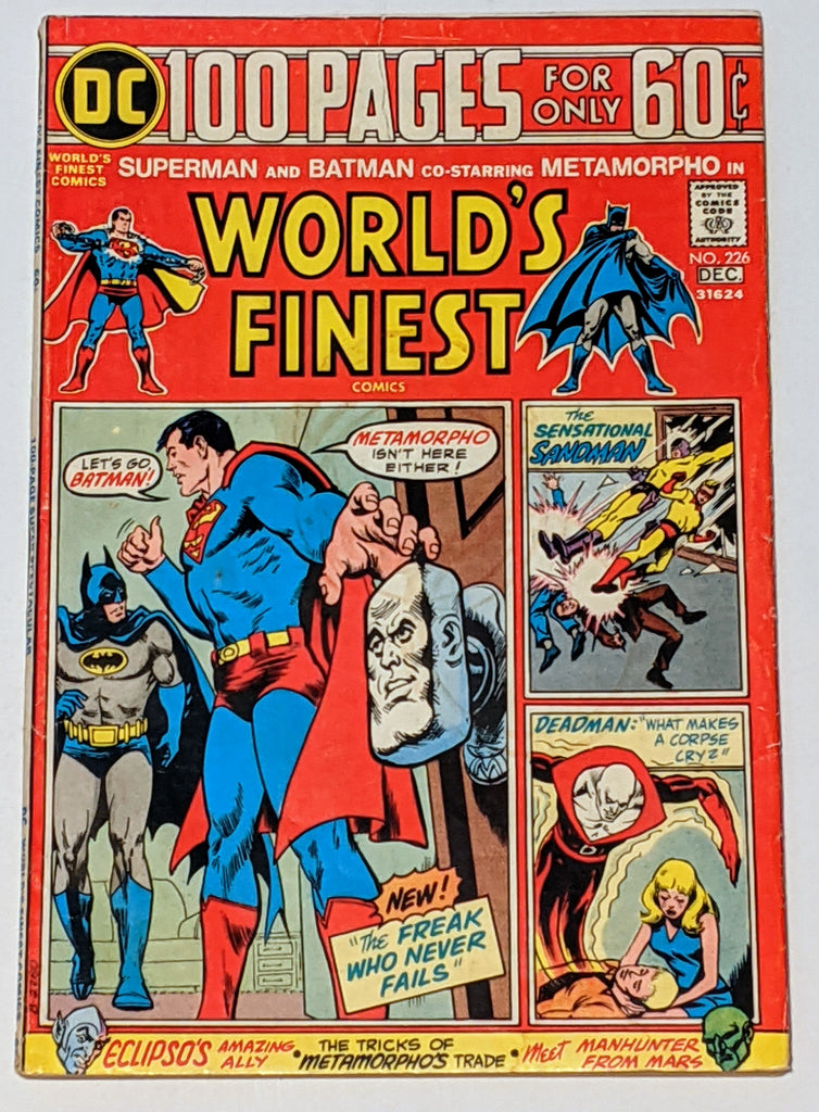 World's Finest # 226 (Dec 1974, DC) VG+ 4.5 100 pages Nick Cardy cover