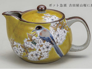 KUTANI WARE TEA POT - YOSHIDA WILD CHERRY TREE