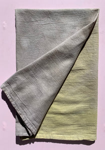 Naturally Dyed Flour Sack Towel  Yellow & Gray