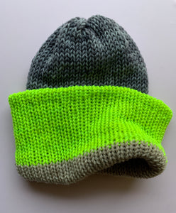 Reversible Wool Hat -Gray Tan Chartreuse
