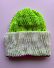 Load image into Gallery viewer, Reversible Wool Hat - Hot Pink White Chartreuse