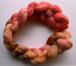 Hand Dyed Falkland Roving - Wilting Rose