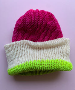 Reversible Wool Hat - Hot Pink White Chartreuse