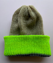 Load image into Gallery viewer, Reversible Wool Hat -Gray Tan Chartreuse