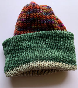 Reversible Wool Hat - Tan Green Multi