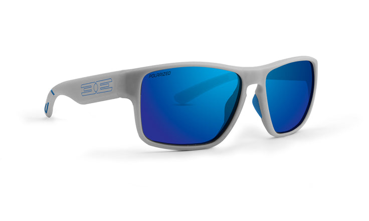Charlie lifestyle sunglasses with black frames and polarized blue mirror lenses