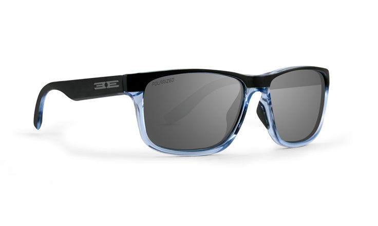 Delta Polarized sunglasses with matte black to crystal blue frames and polarized blue mirror lenses (5494060744864)