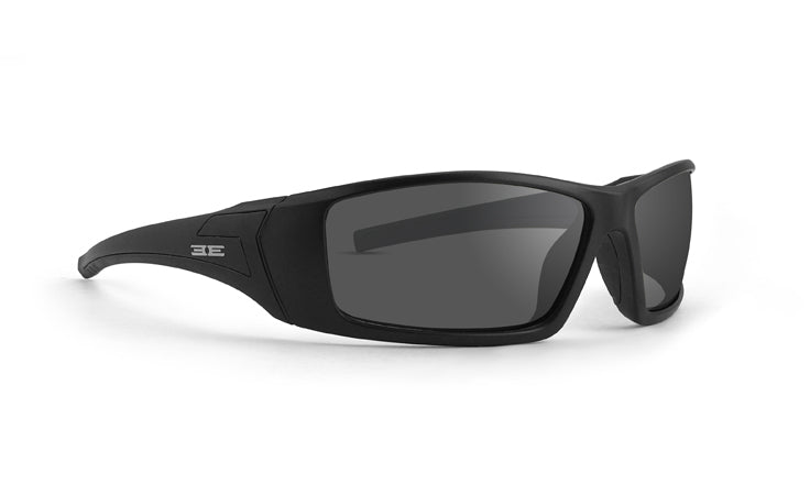 Epoch 3 Moto Sunglasses with black frames and smoke lenses