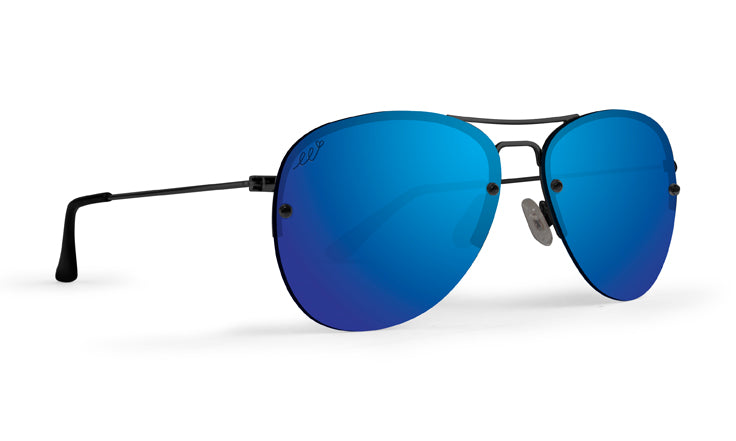 Emerson lifestyle sunglasses with black frames and polarized blue mirror lenses (5494057205920)