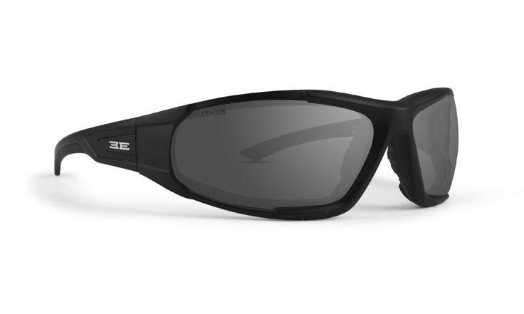 Foam 2 moto sunglasses with black frames and smoke lenses (5494058418336)