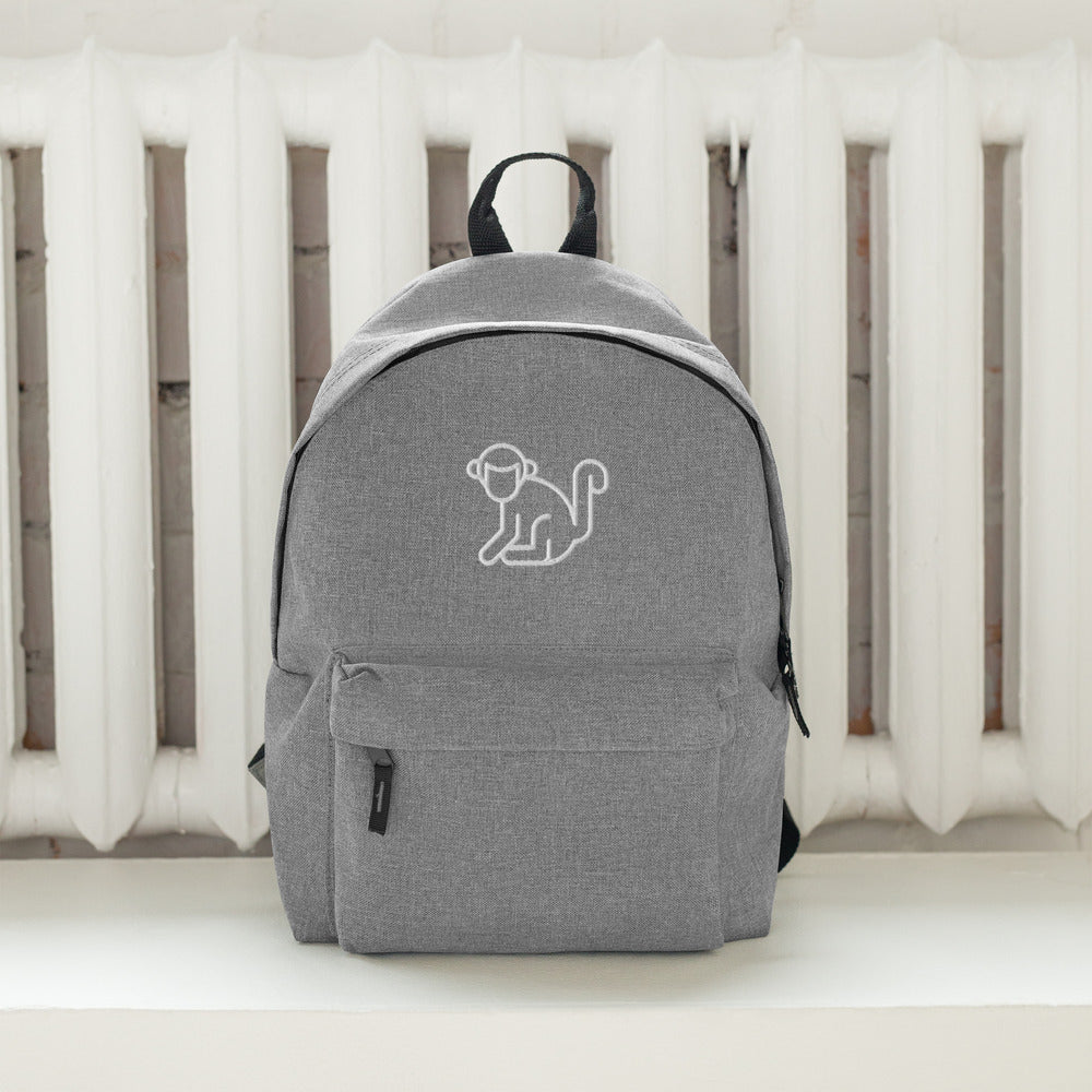 Embroidered White Logo Backpack