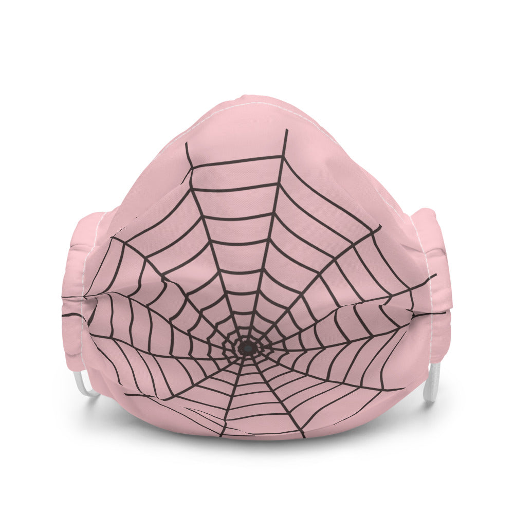 Halloween Spider Web Pink Face Mask