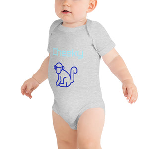 Blue Cheeky Monkey Baby Grow