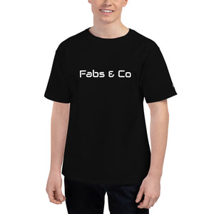 Fabs & Co x Champion White Wordmark Logo Mens T-Shirt