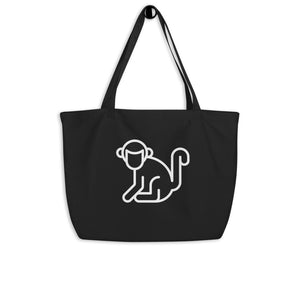 Large White Logo Organic Tote Bag